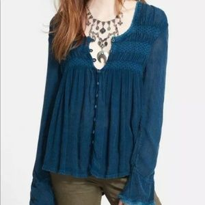 Free People Bluebird Boho Blouse Distressed Hem L